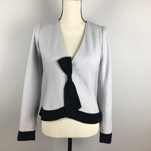 Anthro Elevenses Femme Bow-Front Wool Felt Blazer